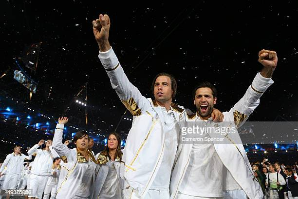 Members of the Great Britain Olympic team enter the stadium during the Opening Ceremony of the London 2012 Olympic Games at the Olympic Stadium on...