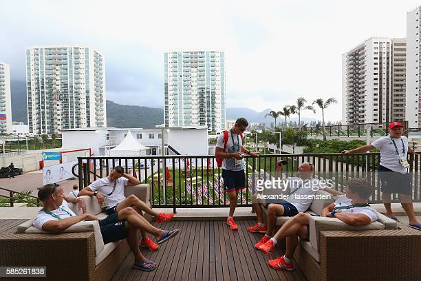 Members of the Great Britain Olympic team team at the Olympic Village ahead of the Rio 2016 Olympic Games on August 2 2016 in Rio de Janeiro Brazil