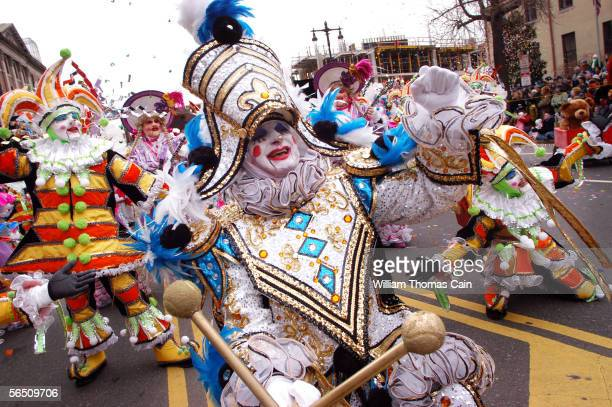 Members of the Greater Kensington String Band perform as they march up Broad Street during the 105th Annual Mummers Parade January 1 2006 in...