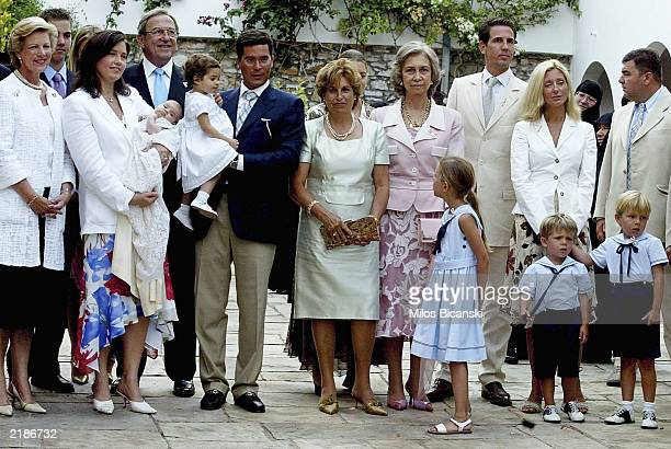 Members of the Greek and Spanish Royal families pose after the christening ceremony of the second daughter of the Princess Alexia and Carlos Morales...