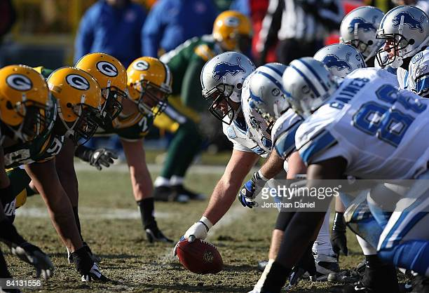 Members of the Green Bay Packers defensive line lineup against the Detroit Lion offense on December 28 2008 at Lambeau Field in Green Bay Wisconsin