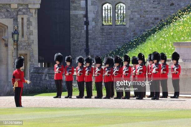 Members of the Grenadier Guards during the funeral of Prince Philip, Duke of Edinburgh at Windsor Castle on April 17, 2021 in Windsor, England....