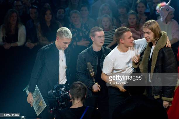 Members of the group Hov1 celebrate their wins of the Group of the Year and Live Artist of the Year awards at the P3 Guld Gala Swedish Radio's...