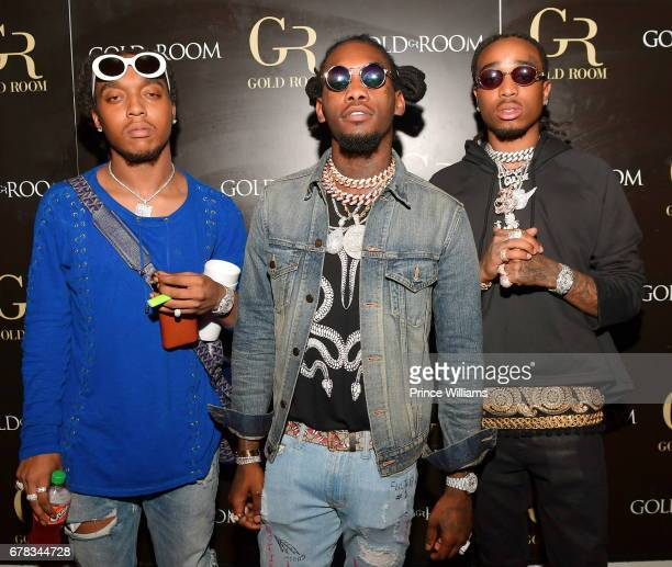 Members of The Group Migos Takeoff Offset and Quavo attend The Official Concert After Party Hosted By Chris Brown at Gold Room on May 3 2017 in...