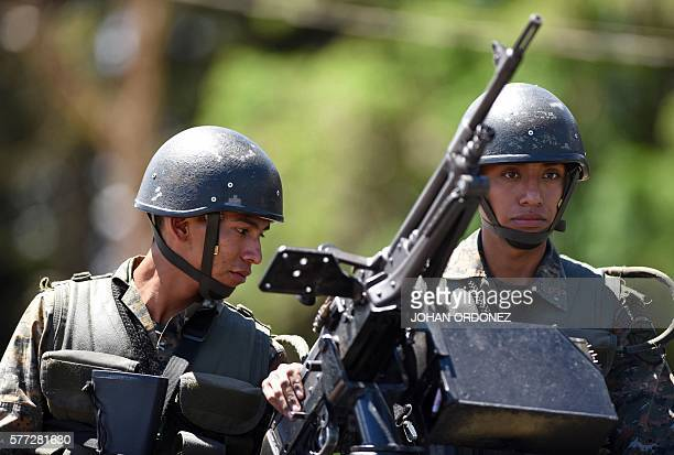 Members of the Guatemalan Army guard the Pavon maximum security prison in Fraijanes municipality about 20 km from Guatemala City after at least two...