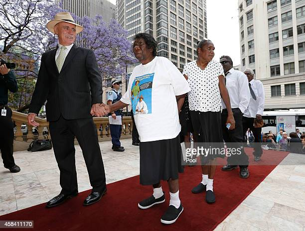 Members of the Gurindji people from Australia's Northern Territory arrive at the state memorial service for former Australian Prime Minister Gough...