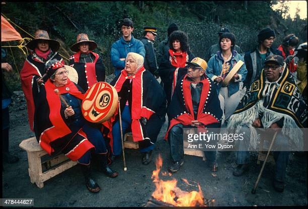 Members of the Haida Nation stand with elders during a protest over logging on South Moresby Island Queen Charlotte Islands British Columbia Canada...