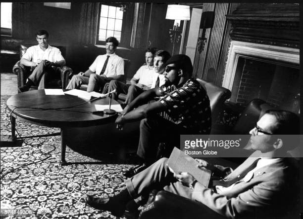 Members of the Harvard University crew team meet with San Jose State sociology professor Harry Edwards second from right leader of the proposed...