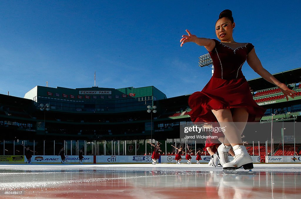 Members of the Haydenettes synchronized skating team perform during the figure skating show as part of the Citi Frozen Fenway events at Fenway Park on January 13, 2014 in Boston, Massachusetts.