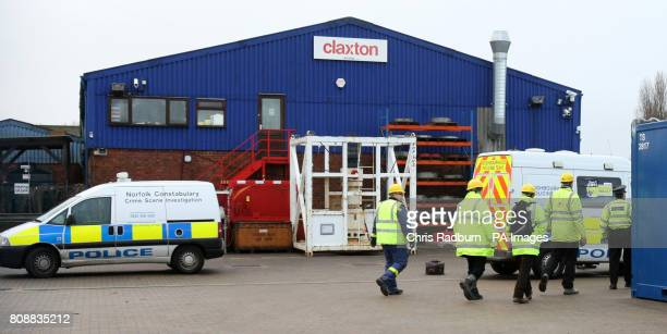 Members of the Health and Safety Executive enter offshore Engineering firm in Claxton Great Yarmouth after four workmen died as the steel structure...