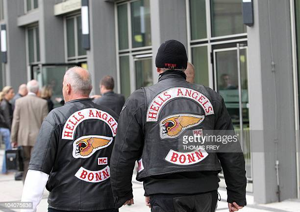 Members of the Hells Angels biker gang arrive to watch the trial against defendant KarlHeinz B on September 14 2010 at court in Koblenz southwestern...