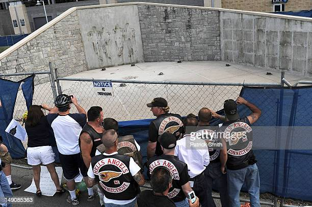 Members of the Hells Angels from Connecticut visit the site where the statue of former Penn State University football coach Joe Paterno once stood...