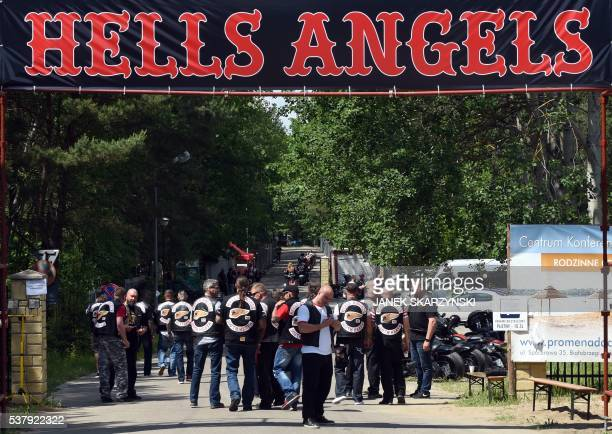 Members of the Hells Angels motorcycle club arrive for the Hells Angels' World Run 2016 gathering on June 3 2016 in Rynia near Warsaw More than a...