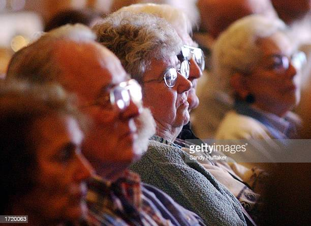Members of the Hemlock Society listen to a speakers forum at the organization's annual meeting being held at the Bahia resort January 10 2003 in San...