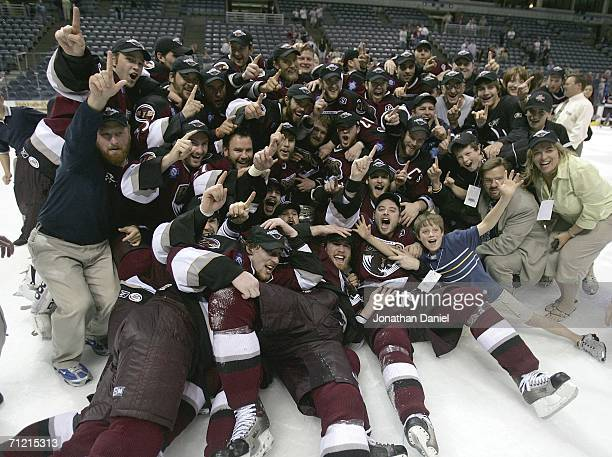 Members of the Hershey Bears celebrate winning the Calder Cup after defeating the Milwaukee Admirals in game six of the AHL Calder Cup Finals on June...