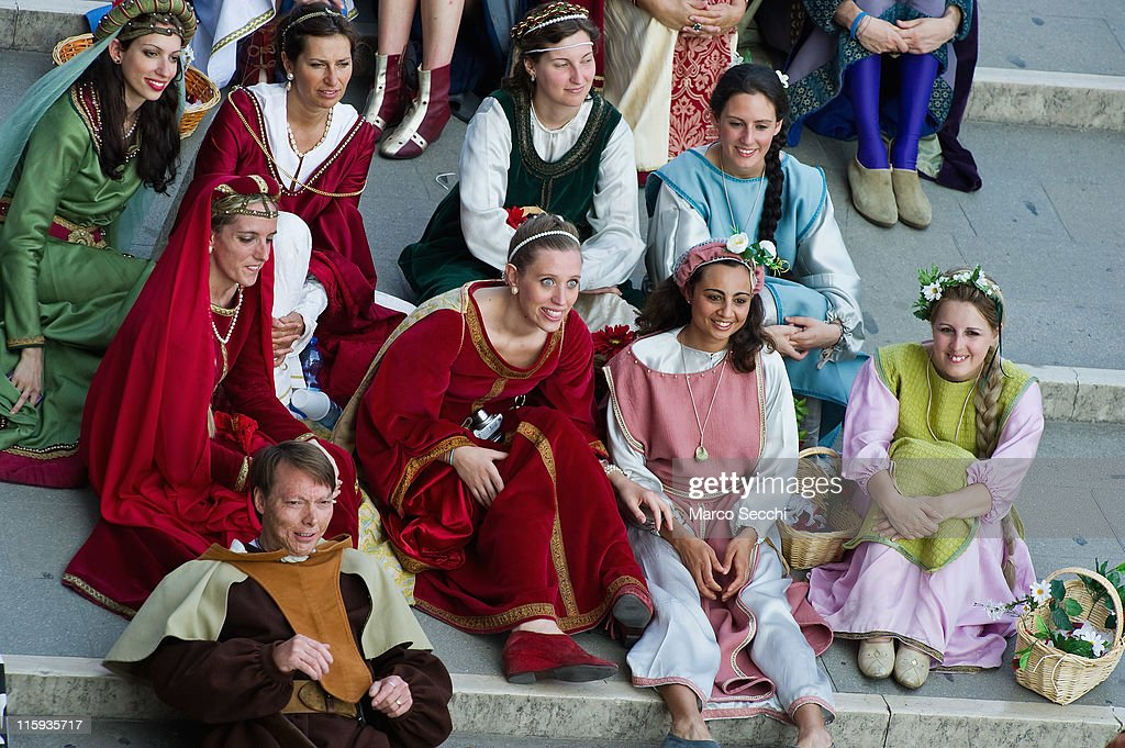 Members of the Historical Pageant rest during the Regatta of the Ancient Maritime Republics on June 12, 2011 in Venice, Italy. The idea of the Regatta of the Ancient Maritime Republics was realized in 1955 and the first edition took place in Genova.