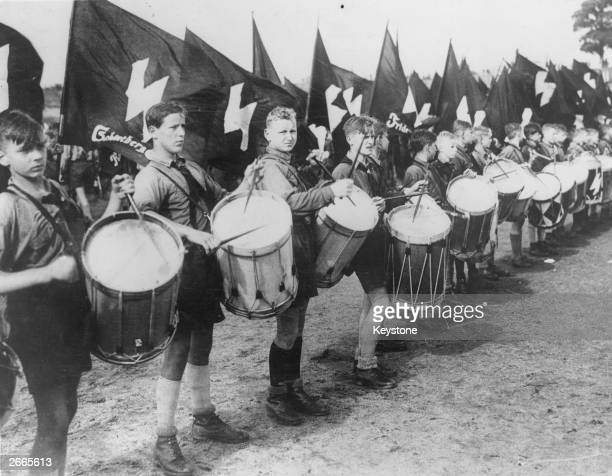 members of the Hitler Youth playing the drums