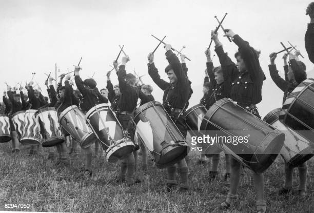 Members of the Hitler Youth practice drumming in preparation for the Nazi Party Rally at Nuremberg, 5th April 1937.
