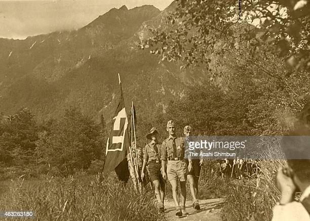 Members of the Hitler Youth walk at the Kamikochi highland circa 1938 in Matsumoto Nagano Japan