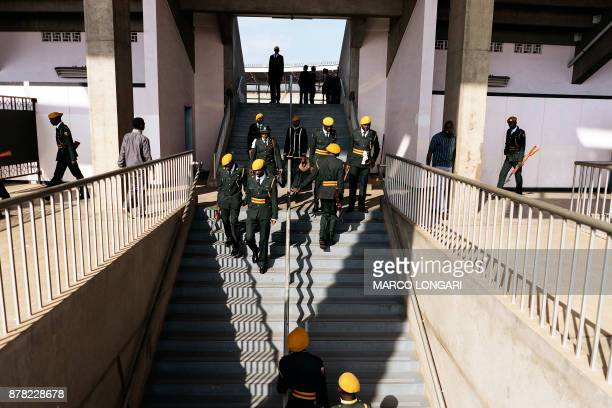 Members of the honor guard prepare for the ceremony at the National Sport Stadium in Harare on November 24 2017 during the Inauguration ceremony...