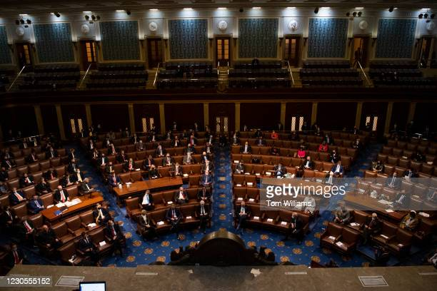 Members of the House and Senate attend a joint session of Congress to certify the Electoral College votes of the 2020 presidential election in the...