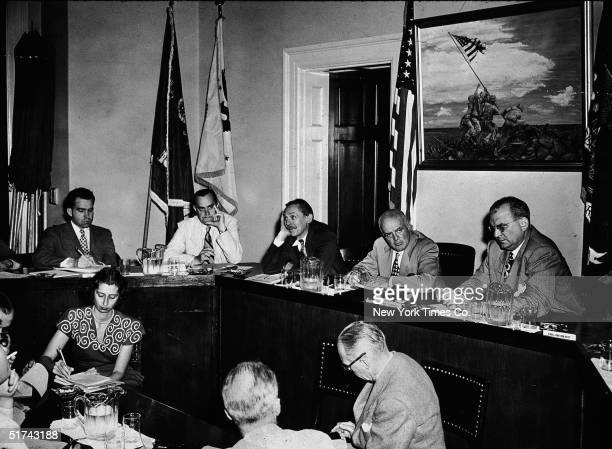 Members of the House Committee on UnAmerican Activities sit for an executive meeting Washington DC August 8 1948 From left future American President...