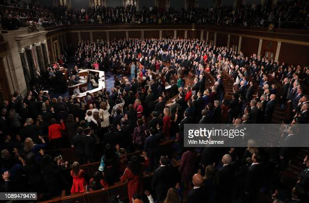 Members of the House of Representatives are sworn in en masse during the first session of the 116th Congress at the US Capitol January 03 2019 in...
