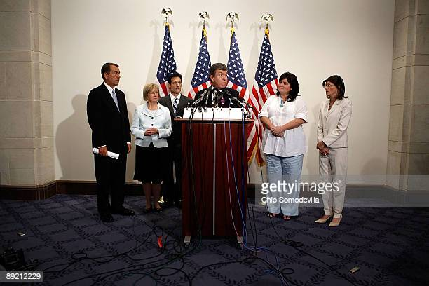 Members of the House Republican leadership Minority Leader John Boehner Rep Judy Biggert Minority Whip Eric Cantor and Rep Roy Blunt are joined by...