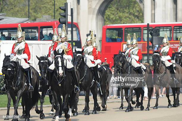 Members of the household Cavalry and Coldstream Guards outside Bucking Palace and on their way to the Palace on July 28 2014 in London England