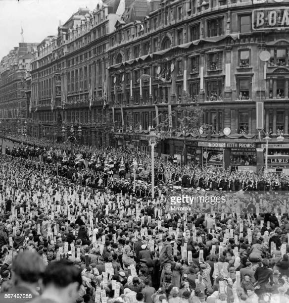 Members of the Household cavalry escort a carriage down Northumberland Avenue The royal passengers are on their way to witness the coronation of...