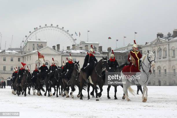 Members of the Household Cavalry make their way across Horseguards Parade on March 01 2018 in London United Kingdom People have been warned to not to...