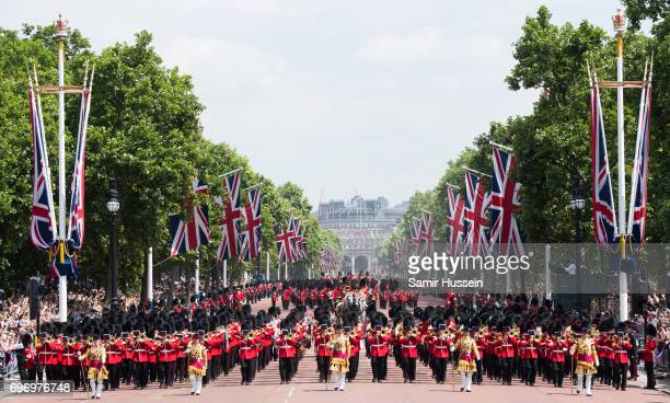 Members of the Household Cavalry march down the mall during the annual Trooping The Colour parade on June 17 2017 in London England