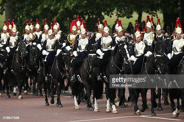 Members of the Household Cavalry Mounted Regiment on The Mall prior to the Trooping The Colour ceremony on June 13 2015 in London England The...