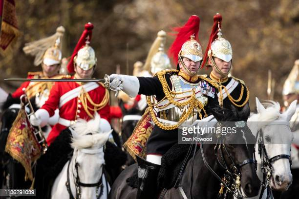 Members of the Household Cavalry Mounted Regiment take part in their annual Inspection in Hyde Park on April 11 2019 in London England The inspection...