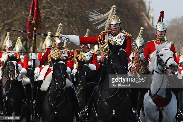 Members of the Household Cavalry parade at the 'Major General's Review' in Hyde Park on March 29 2012 in London England Major General George Norton...