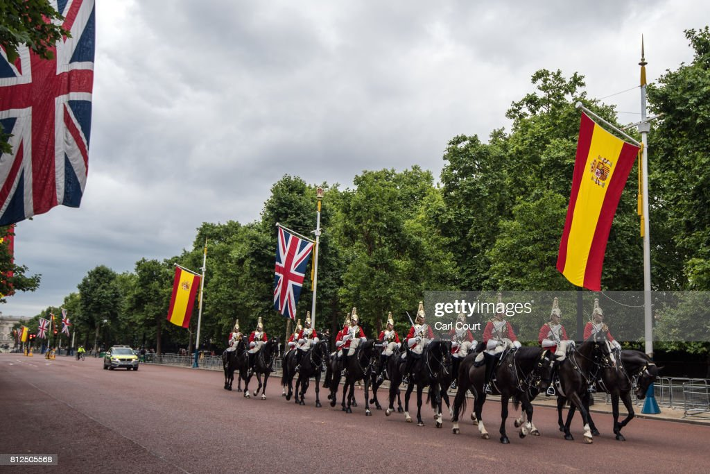 Members of the Household Cavalry ride past Spanish and Union Flags that have been hung along The Mall ahead of the state visit by King Felipe and Queen Letizia of Spain, on July 11, 2017 in London, England. The visit was originally planned from 6th to 8th June but was postponed and will now take place on 12th to 14th July 2017.
