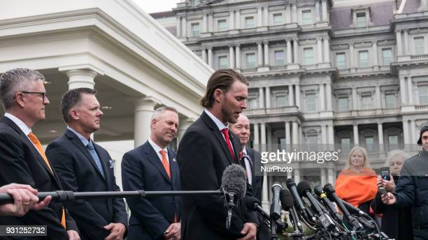 GM Jeff Luhnow Manager AJ Hinch President Reid Ryan Outfielder Josh Reddick and Owner Jim Crane met with reporters outside of the West Wing Portico...