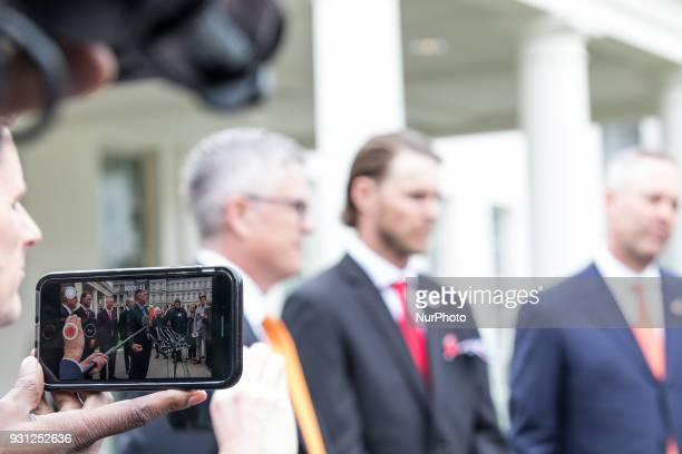 Members of the Houston Astros met with reporters outside of the West Wing Portico of the White House on Monday March 12 2018