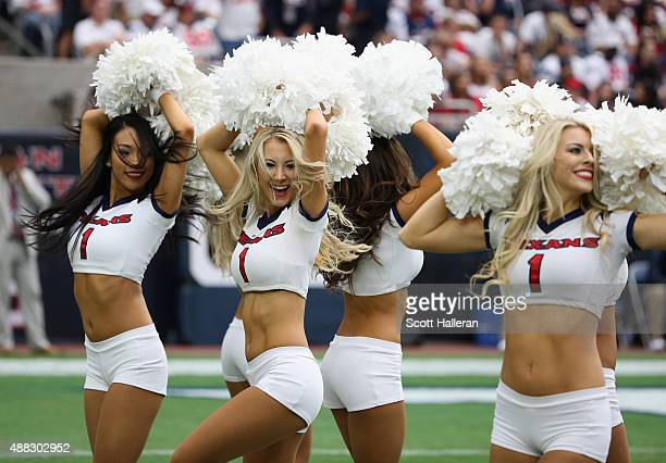 Members of the Houston Texans cheerleaders perform during the game against the Kansas City Chiefs at NRG Stadium on September 13 2015 in Houston Texas