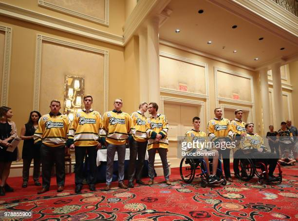 Members of the Humboldt Broncos hockey team attend a press conference prior to the 2018 NHL Awards at the Encore Las Vegas on June 19 2018 in Las...