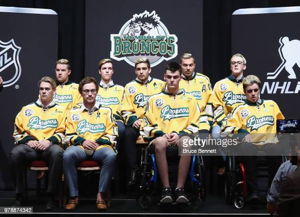 Derek Patter Xavier Labelle and Brayden Camrud of the Humboldt Broncos and their teammates attend media availability moderated by sportscaster...