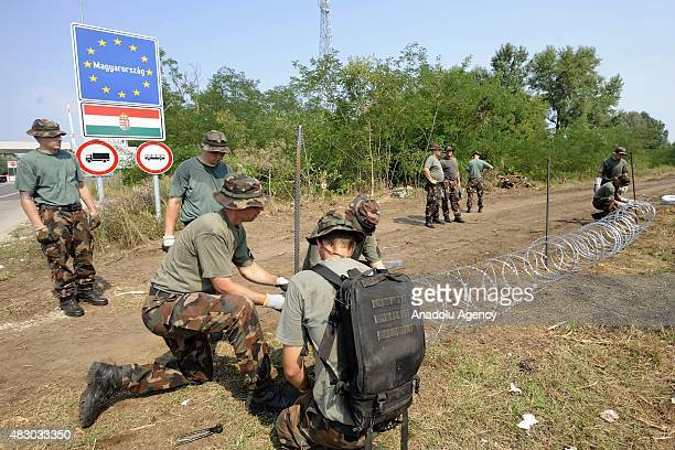 Members of the Hungarian Defence Force install barbed wire on the HungarianSerbian border to prevent illegal migrants from entering the country near...