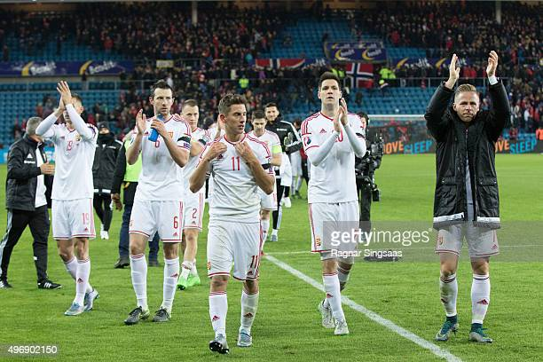 Members of the Hungarian national team celebrate with supporters after the UEFA EURO 2016 qualifier between Norway and Hungary on November 12 2015 in...