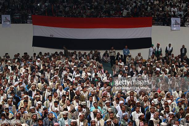Members of the Huthi movement and their allies including the party of ousted president Ali Abdullah Saleh attend a meeting in the Yemeni capital...