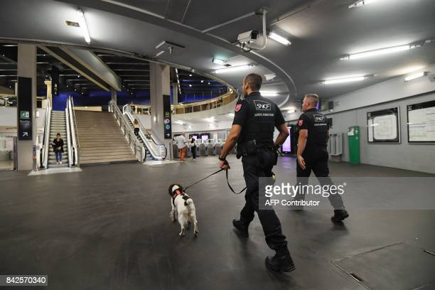 Members of the Ile de France region rail police patrol with Lina a springer Spaniel dog trained for explosives detection at a subway station on...