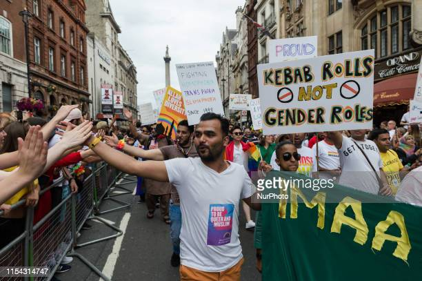 Members of the Imaan Muslim LGBTQI support group take part in the Pride in London parade on 06 July 2019 in London England The festival which this...