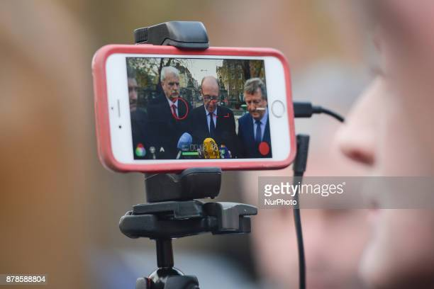 Members of the Independent Alliance Parliamentary Party John Halligan Finian McGrath Shane Ross Sean Canney and Kevin 'Boxer' Moran speak to the...