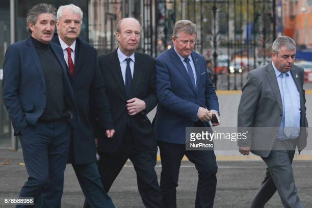 Members of the Independent Alliance Parliamentary Party John Halligan Finian McGrath Shane Ross Sean Canney and Kevin 'Boxer' Moran arrives to meet...