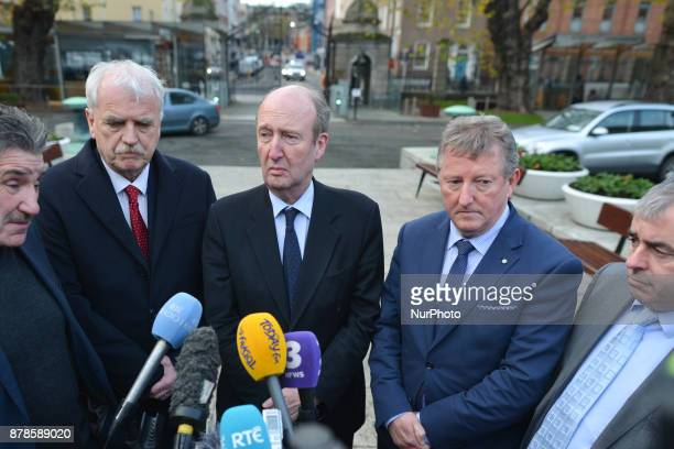 Members of the Independent Alliance Parliamentary Party John Halligan Finian McGrath Shane Ros Sean Canney and Kevin 'Boxer' Moran speak to the media...