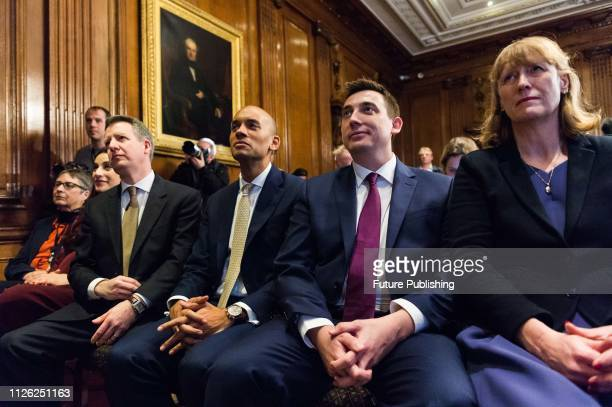Members of the Independent Group and former Labour Party MPs Ann Coffey Luciana Berger Chris Leslie Chuka Umunna Gavin Shuker and Joan Ryan attend a...